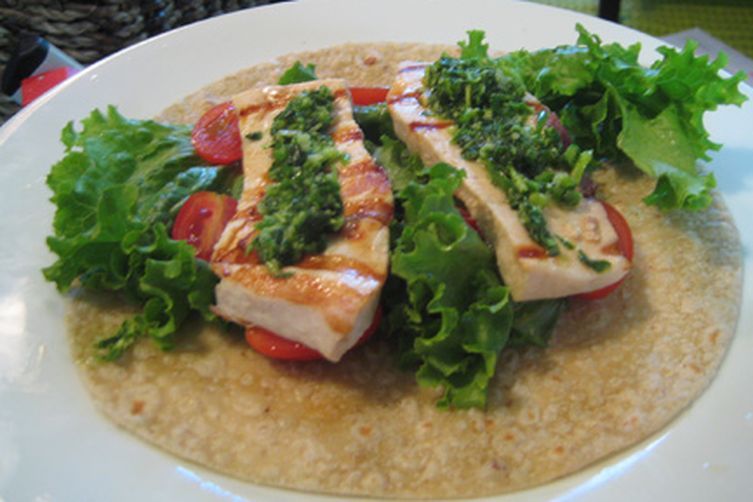 Simple Grilled Swordfish with Garlic Scape Pesto!