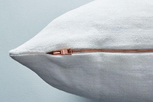 Vintage Linen Pillow Cover With Brass Zipper