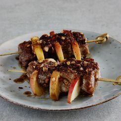 Spiced Pork and Apple Skewers