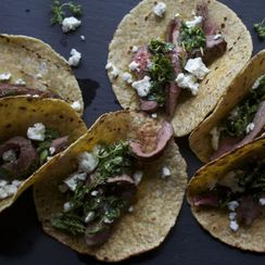 Grilled Flank Steak Tacos with Feta + Oregano Salsa