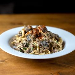 Wild Mushroom Stroganoff with Red Miso