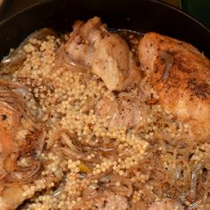 Chicken with Caramelized Sumac Onions, Preserved Lemon, and Israeli Couscous