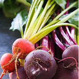 Roasted Beet and Beet Tops Salad
