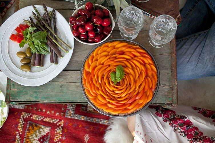 Summer Apricot Basil Tart