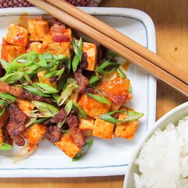 Korean Stewed Tofu with a Green Onion Salad and Crisp Bacon