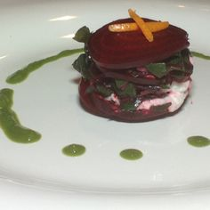 Beet Tower with Red Chard Sauce