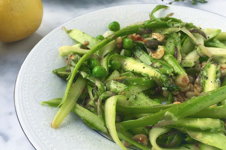 Shaved Asparagus Spring Salad with Roasted Lemon Thyme Vinaigrette