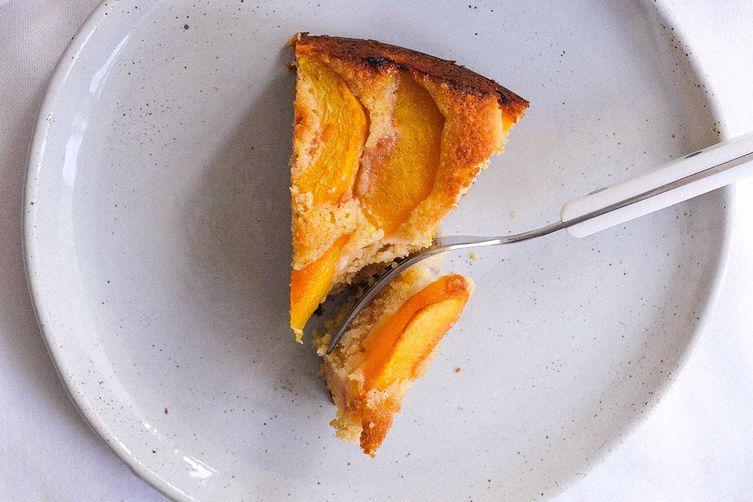 Cornmeal Peach Whiskey Cake