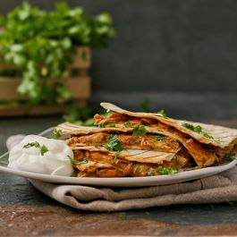 Spicy BBQ chicken quesadillas