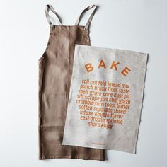 Bark Cross-Back Kitchen Apron with Slate Ties + BAKE Tea Towel Set