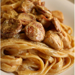 Cajun Chicken & Andouille Sausage Pasta with Garlic Parmesan White Wine Sauce