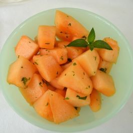 Cantaloupe with honey, mint & lime
