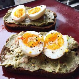 Soft-boiled eggs, Avocado, Pumpernickel Toast