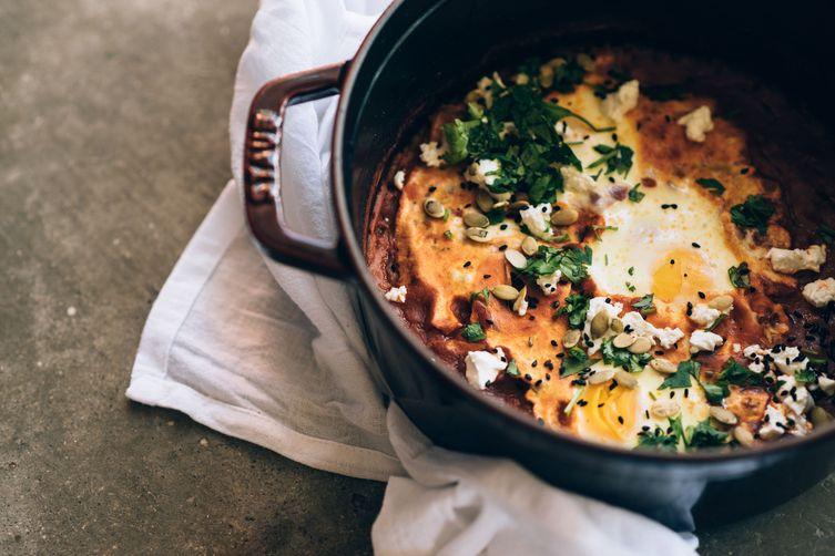 spicy pumpkin + goat cheese shakshuka