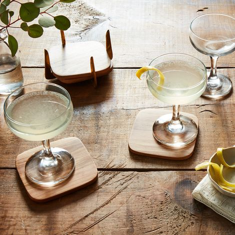 Pure Brass & Teak Coasters (Set of 4)