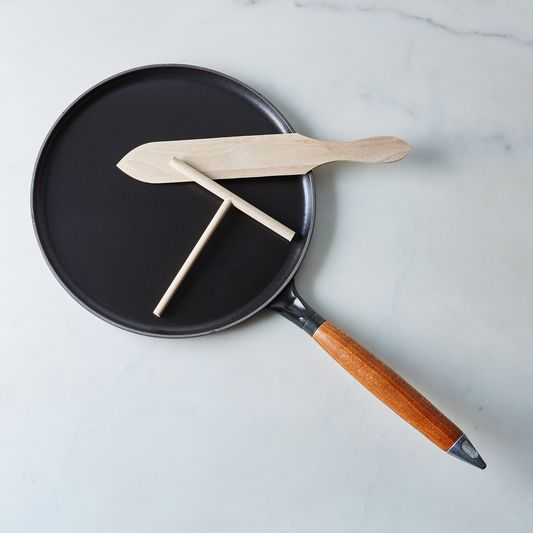 "Staub Cast Iron Crêpe Pan, 11"", with Spreader & Spatula"
