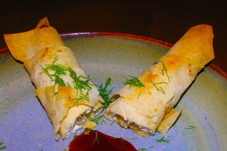 Easy pastry wraps with feta, fennel, chestnut, mushroom, ginger, and dill