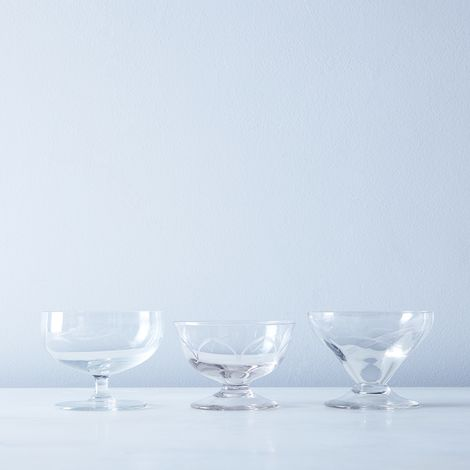 Vintage French Eclectic Dessert Coupes (Set of 2)