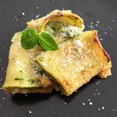 Paccheri pasta filled with ricotta and chard