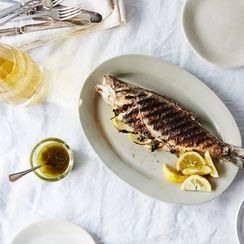 "Grilled Whole Branzino with ""Greek Fish Sauce"""