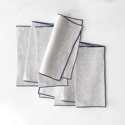 Linen Cocktail Napkins With Trim