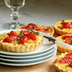 Corn Tarts with Tomatoes, Bacon, and Goat Cheese