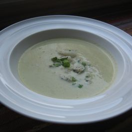 Celery Soup with celery leaf, asian pear and blue cheese relish.