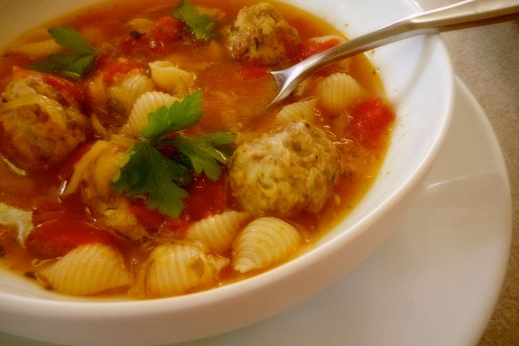 Tomato and Zucchini Soup with Sausage Meatballs
