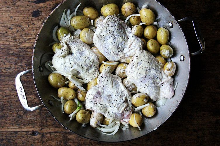 One-Pan Roasted Chicken Thighs with Potatoes and Tarragon
