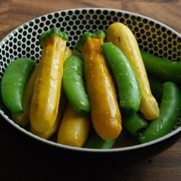 Zucchini and Snap Peas with Sesame Oil and Salt
