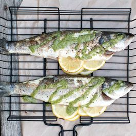 Grilled Branzino with Walnut Parsley Pesto Dressing