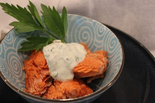 Steam-baked Salmon with Lovage & Lime and Herb Tartar Sauce