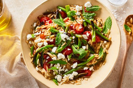 Orzo With Blistered Green Beans, Burst Tomatoes & Feta