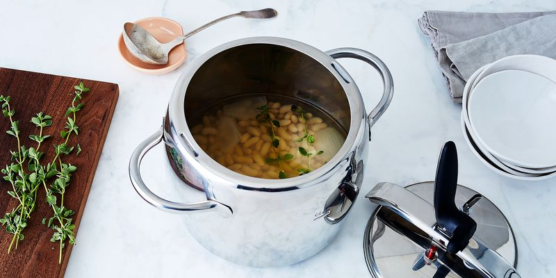 Our Italian Stovetop Pressure Cooker in all its bean-making glory