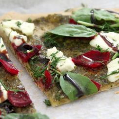 Beet, pesto & goat cheese flatbread with basil & dill { whole grain}