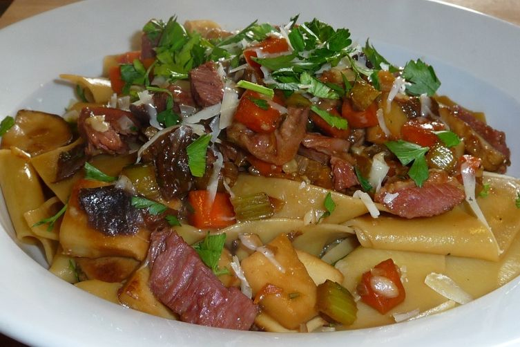 Pappardelle with Mushrooms and Smoked Duck