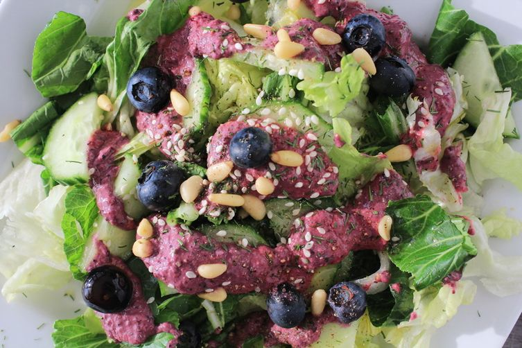 Salad dressing with blueberries, dijon mustard, olive oil & sesam