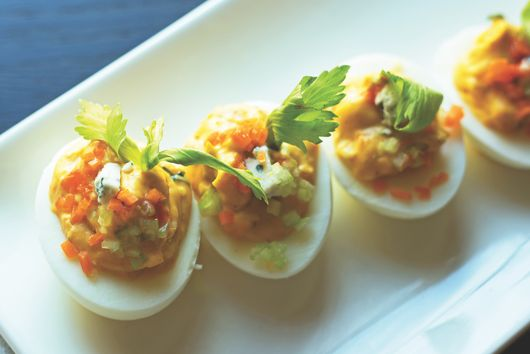Buffalo Deviled Eggs With Blue Cheese