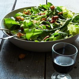 Chicory & Dandelion Salad with Warm Bacon Vinaigrette