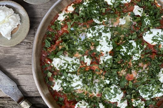 Shakshuka with Chevre & Goats Curd by Mandy Hall