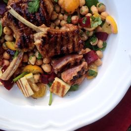 Tamarind and brown sugar grilled lamb cutlets with a spicy chickpea salad