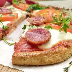Paleo Buffalo Mozzarella & Salami Pizza with a Cauliflower Crust
