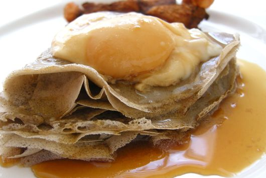 Maple poached eggs on buckwheat crepes