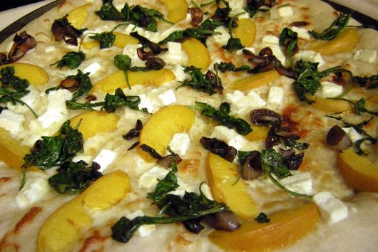 Nectarine Pizza with Arugula and Goat Cheese