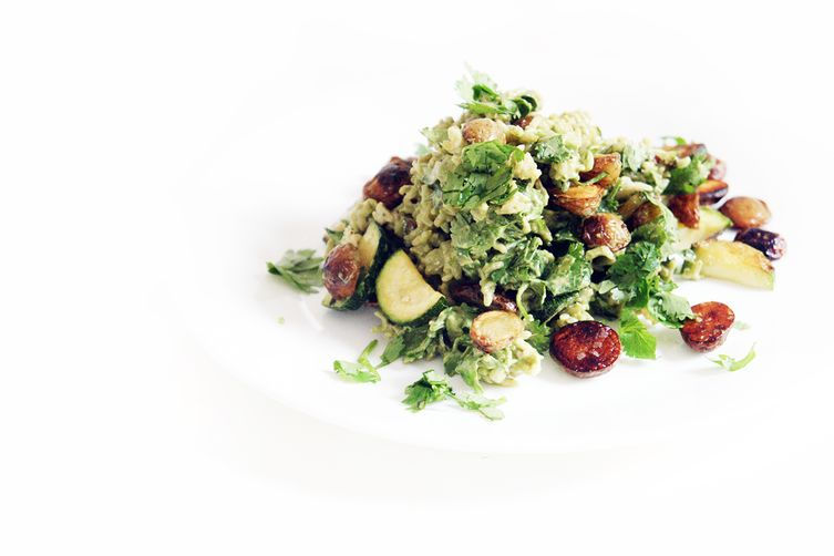 Aromatic Avocado Rice Salad with Potatoes and Squash