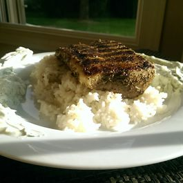 Blackened Mahi-Mahi with Coconut Fried Rice and Lemon-Dill Yogurt Sauce