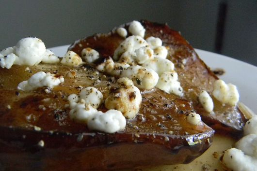 Roasted Pears in Balsamic Vinegar with Goat Cheese and Black Pepper