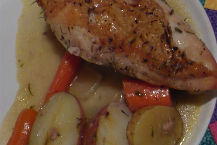 Citrus Herb Roasted Chicken with Creamy Root Vegetables