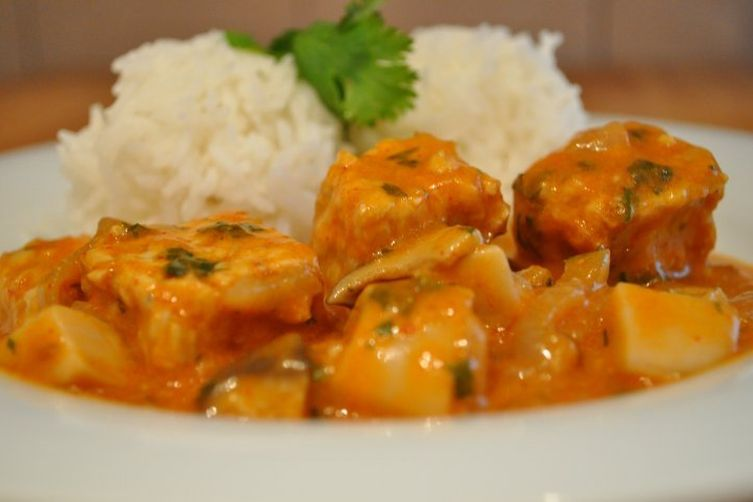 Coconut Curry Tempeh with fresh Trumpet Mushrooms
