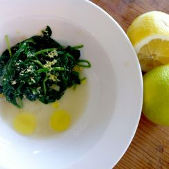 sautéed spinach salad with lemon & olive oil a la Amalfitana